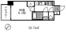 エステムコート神戸グランスタイル 3階1Kの間取り