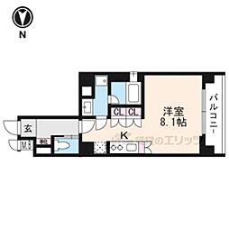 リーガル京都五条大宮204 2階1Kの間取り