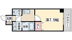 W.O.B UMEDA 5階1Kの間取り