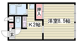 JR東海道・山陽本線 東加古川駅 徒歩13分の賃貸アパート 1階1Kの間取り