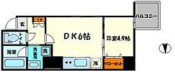レオンコンフォート本町橋 6階1LDKの間取り