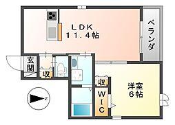 高照マンションIII 1階1LDKの間取り