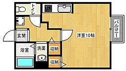 京都府京都市山科区大宅御供田町の賃貸アパートの間取り
