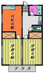 千葉県千葉市稲毛区小中台町の賃貸アパートの間取り