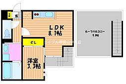 岡山県岡山市北区奥田1丁目の賃貸アパートの間取り