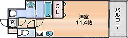 Osaka Metro四つ橋線 花園町駅 徒歩6分の賃貸マンション 10階ワンルームの間取り