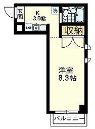 西武国分寺線 鷹の台駅 徒歩19分の賃貸マンション 4階ワンルームの間取り