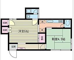 金子アパート[102号室]の間取り