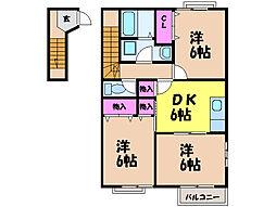 愛媛県松山市空港通3丁目の賃貸アパートの間取り