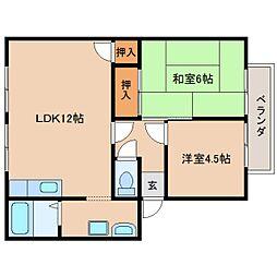 近鉄天理線 前栽駅 徒歩10分の賃貸アパート 1階2LDKの間取り