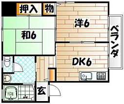 福岡県北九州市小倉北区中井2丁目の賃貸マンションの間取り