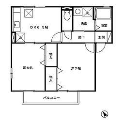 神奈川県相模原市緑区町屋2丁目の賃貸アパートの間取り