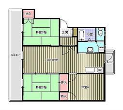 福岡県春日市白水ヶ丘5丁目の賃貸マンションの間取り