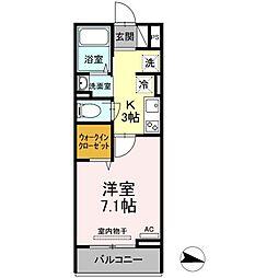 JR福塩線 万能倉駅 徒歩15分の賃貸アパート 2階1Kの間取り