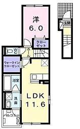 小田急江ノ島線 湘南台駅 バス11分 石川橋 下車下車 徒歩6分の賃貸アパート 2階1LDKの間取り
