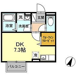 小田急小田原線 海老名駅 徒歩13分の賃貸アパート 1階ワンルームの間取り
