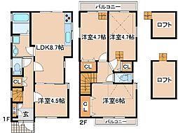 阪急神戸本線 王子公園駅 徒歩12分の賃貸一戸建て 2階4LDKの間取り