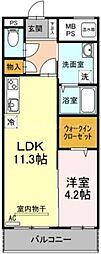 香川県高松市松縄町の賃貸マンションの間取り
