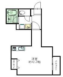 AXIS平尾2番館 3階ワンルームの間取り