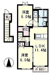 滋賀県大津市平津1丁目の賃貸アパートの間取り