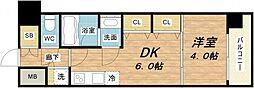 S-RESIDENCE淀屋橋 2階1DKの間取り