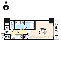 阪急京都本線 西京極駅 徒歩22分の賃貸マンション 4階1Kの間取り