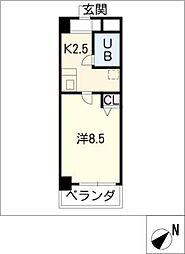 ラヴィエ・セゾンII 1階1Kの間取り