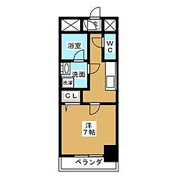 アクアコート大曽根 6階1Kの間取り
