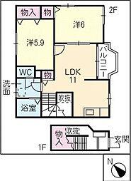 レジデンスTAHARA A[2階]の間取り