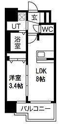 プレサンス南堀江 8階1LDKの間取り