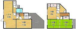 [一戸建] 大阪府枚方市長尾東町2丁目 の賃貸【/】の間取り