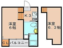 ハウス箱崎[2階]の間取り