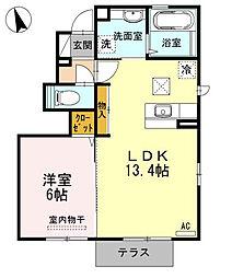 愛媛県松山市中村2丁目の賃貸アパートの間取り