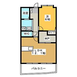 秋桜館・西原[4階]の間取り