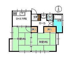 JR鹿児島本線 田代駅 田代外町住宅北下車 徒歩1分の賃貸一戸建て 2Kの間取り
