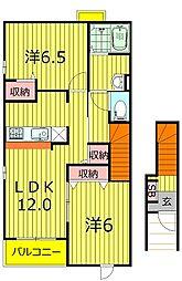 千葉県柏市松葉町2丁目の賃貸アパートの間取り