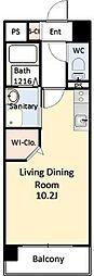 NS本荘 12階ワンルームの間取り