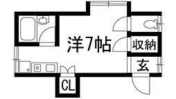 兵庫県宝塚市伊孑志1丁目の賃貸アパートの間取り
