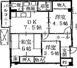 メルカード船岡[2-G号室号室]の間取り