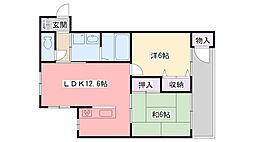 阪急甲陽線 苦楽園口駅 徒歩21分の賃貸マンション 3階2LDKの間取り