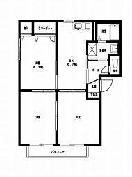 JR左沢線 東金井駅 陣場口下車 徒歩8分の賃貸アパート 1階3DKの間取り