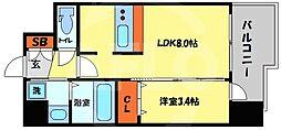 プレサンス南堀江 12階1LDKの間取り
