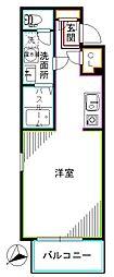 JR総武線 東中野駅 徒歩5分の賃貸マンション 2階ワンルームの間取り