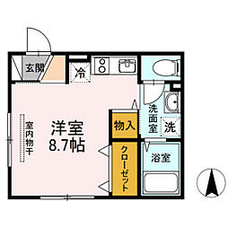 岡山電気軌道清輝橋線 大雲寺前駅 徒歩10分の賃貸アパート 3階ワンルームの間取り