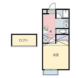 JR仙山線 北山駅 徒歩6分の賃貸アパート 2階1Kの間取り