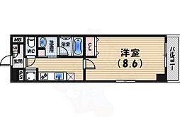 阪神本線 西宮駅 徒歩5分の賃貸マンション 5階1Kの間取り