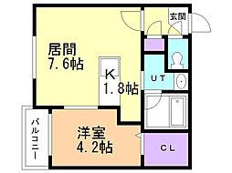 癒禅07 3階1DKの間取り