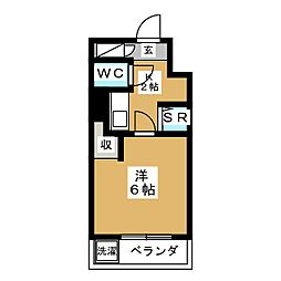 プリオール新宿 3階1Kの間取り