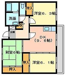 兵庫県姫路市広畑区本町1丁目の賃貸マンションの間取り