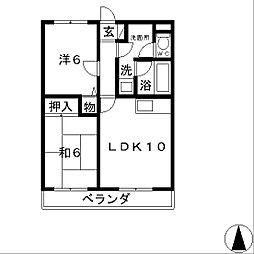 滋賀県栗東市綣5丁目の賃貸マンションの間取り